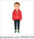 Disappointed little boy in red hoodie 58589150