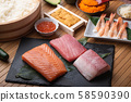 sushi ingredients, tuna, salmon, yellow tail, sea 58590390
