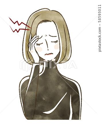 두통으로 고생하는 여성 58593011