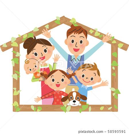 樹屋家庭朋友家庭房屋框架 58593591