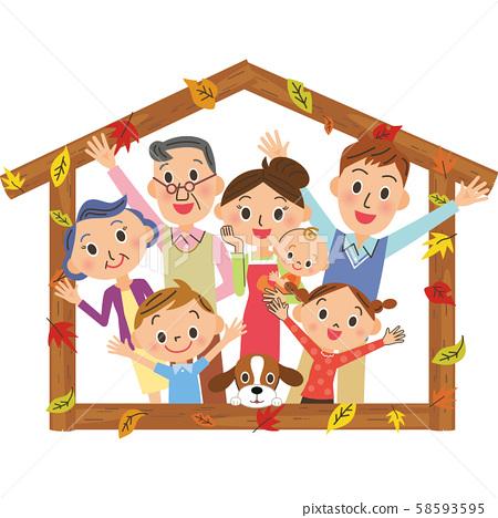三代家庭,秋天的落葉和房屋框架 58593595