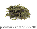 Dry wakame seaweed, isolated on white background. Sea kale, asian dry food. 58595701