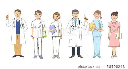 醫生和護士,男性和女性 58596248
