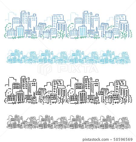 手繪的城市景觀圖 58596569