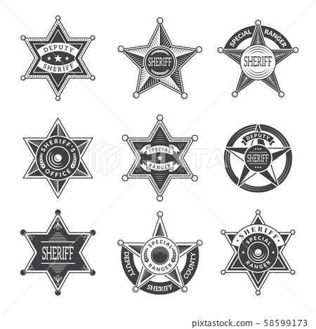Sheriff stars badges. Western star texas and rangers shields or logos vintage vector pictures 58599173