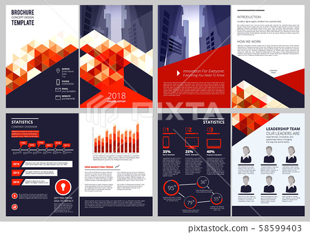 Business brochure template. Annual report corporate documents magazine or catalogue cover pages 58599403
