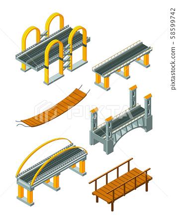 Viaduct bridge isometric. Wood support crossing river or highway logging industry vector urban 58599742