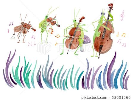 昆蟲音樂樂隊水彩 58601366