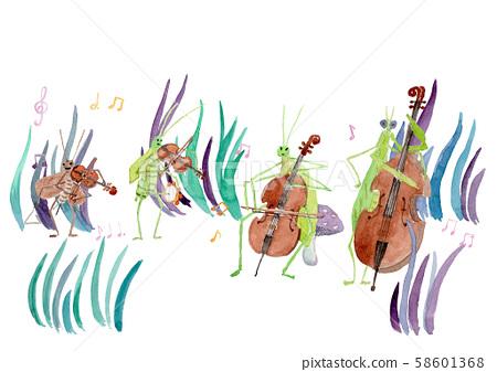 昆蟲音樂樂隊白色背景 58601368