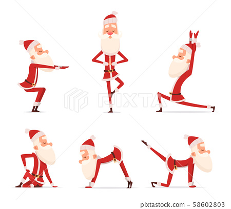 Santa yoga poses. Christmas winter holiday sport healthy character standing in various relax poses 58602803