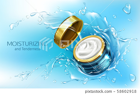 cream in jar, moisturizing cosmetics, splashes 58602918