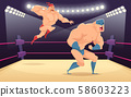 Wrestler fighters cartoon. Cartoon martial characters at ring funny action vector sport background 58603223