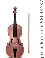3D Violin with bow 58603437