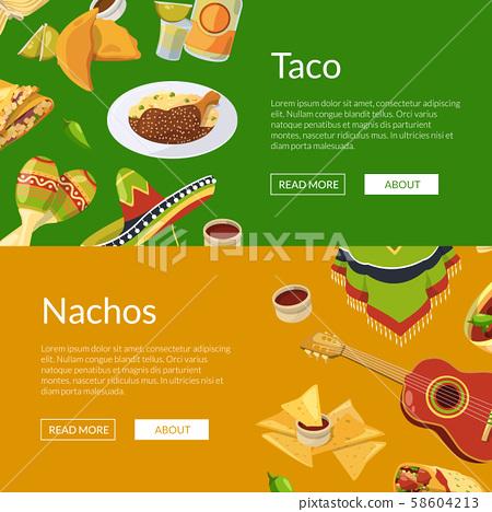 Vector cartoon mexican food web banner illustration 58604213