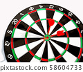 Target with three red dart focus on bull's eye, Setting challenging business goals And ready to achieve the goal with teamwork concept 58604733