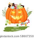 Happy halloween pumpkin full of candy 58607350