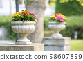 concrete flower stand in the yard 58607859