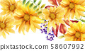 Watercolor orange sunflower with leaves and 58607992