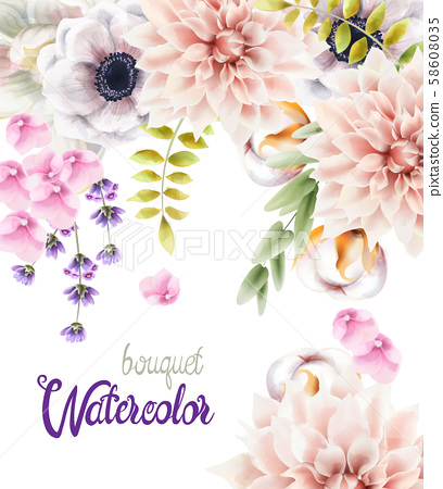 Watercolor flowers and leaves bouquet 58608035