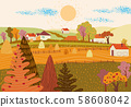 Cartoon flat village with colorful scenery 58608042