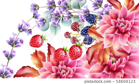 Autumn berries and flowers bouquet 58608123