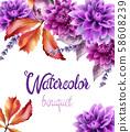 Wild forest flowers bouquet card 58608239