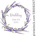 Lavender card vector watercolor 58608267