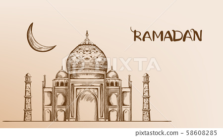 Mosque with moon Vector line art 58608285