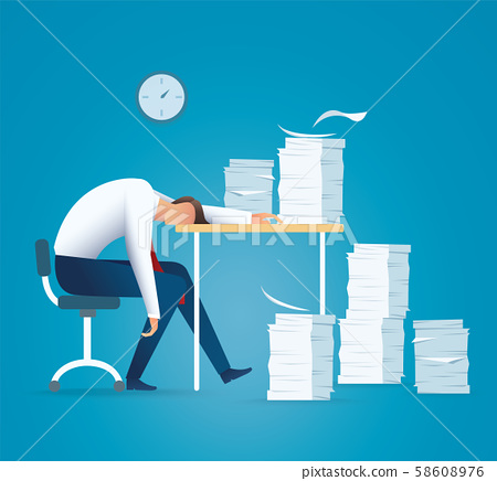 Tired business man. overworking concept vector illustration EPS10 58608976