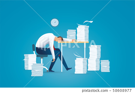Tired business man. overworking concept vector illustration EPS10 58608977