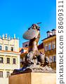Mermaid Statue, symbol of Warsaw, Poland 58609311