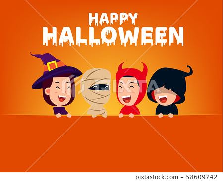 Happy halloween party. Group of cute in halloween 58609742