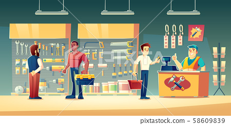 Customers tools store, hardware construction shop 58609839