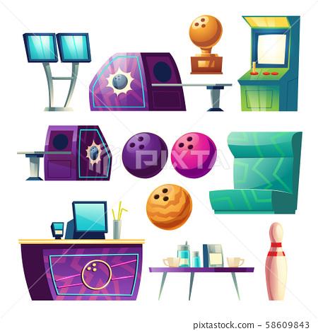 Bowling club equipment icons, design elements set 58609843