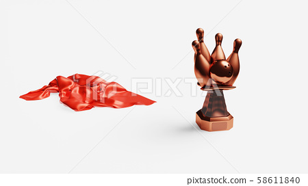 Bowling Bronze Trophy with a Red shiny Fabric 58611840