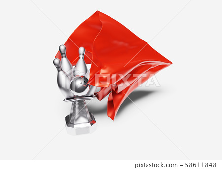 A Red shiny Fabric piece taking One Bowling Silver 58611848