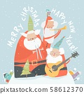 Funny Santa Clauses playing musical instruments. Merry Christmas 58612370