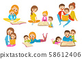 Family Reading Book Together. Parents With Thiir Kid Reading Fairy Tale Vector Illustrations Set 58612406