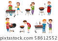 Men grill barbecue on vacation. Vector illustration. 58612552