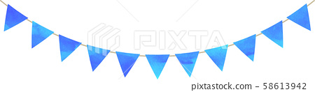 Flag_Triangle_Garland_Watercolor_Green_Blue_Blue 58613942