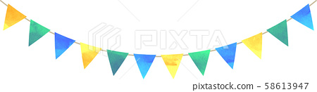 Flag_Triangle_Garland_Watercolor_Green_Blue_Yellow_Blue Green 58613947
