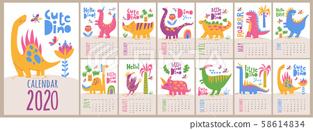 vector 2020 calendar template with dinosaurs in stock illustration 58614834 pixta vector 2020 calendar template with