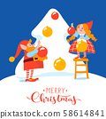 Merry Christmas card with cute elfs characters decorate a tree 58614841