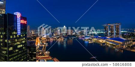 新加坡城市夜景全景 58616808