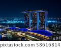 Singapore Marina Bay Sands Hotel Night View 58616814