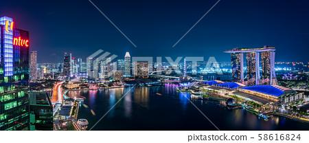 新加坡城市夜景全景 58616824