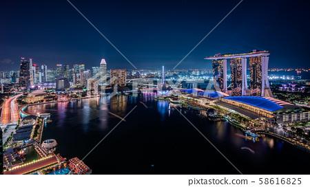 新加坡城市夜景全景 58616825