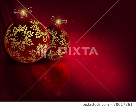 Christmas red background with beautiful balls with golden snowflakes 58617861