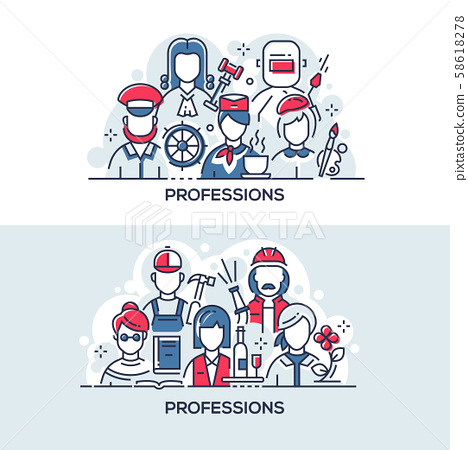 Different people professions vector banner templates set