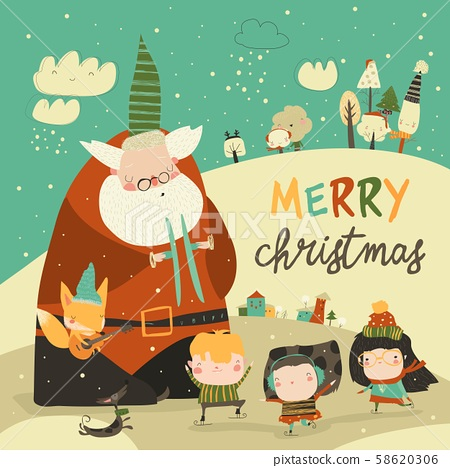 Funny Santa Claus celebrating Chistmas with cute kids 58620306